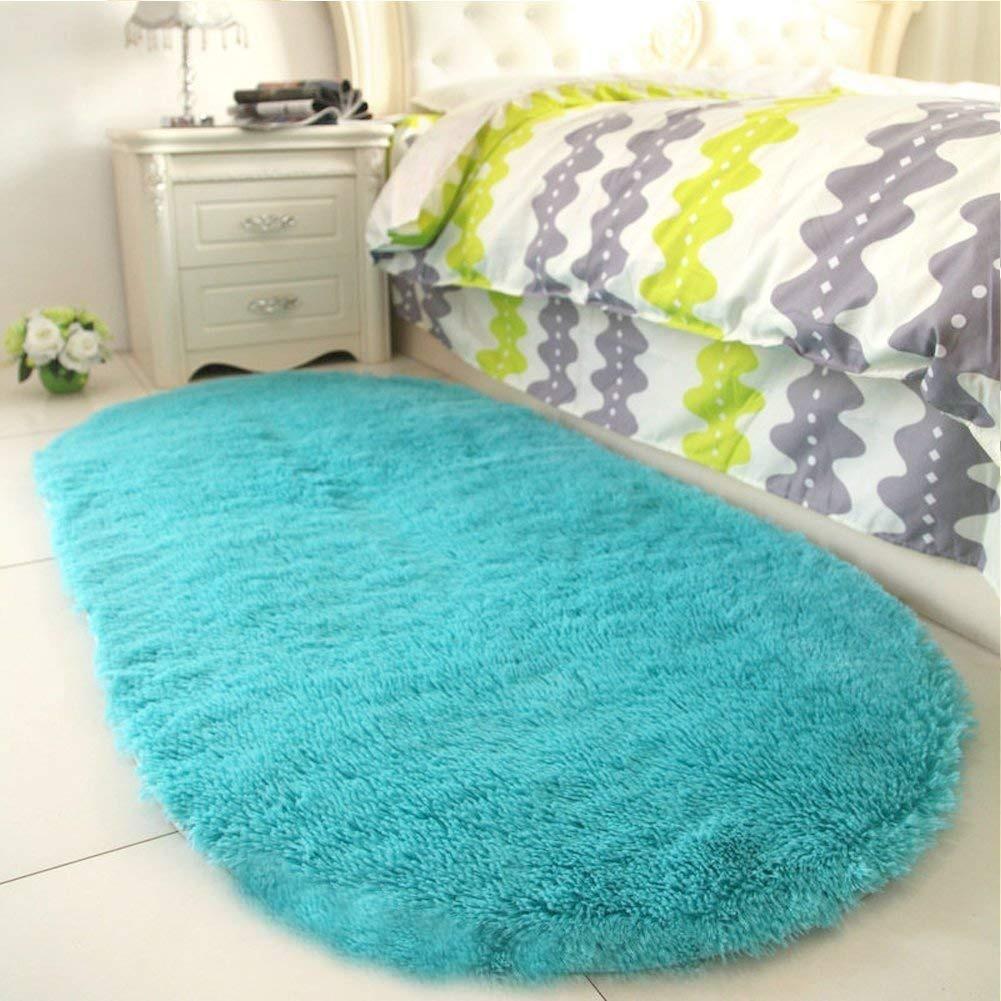 Oval Color Azul Turquesa Decoración Tapete Para Cama Sala