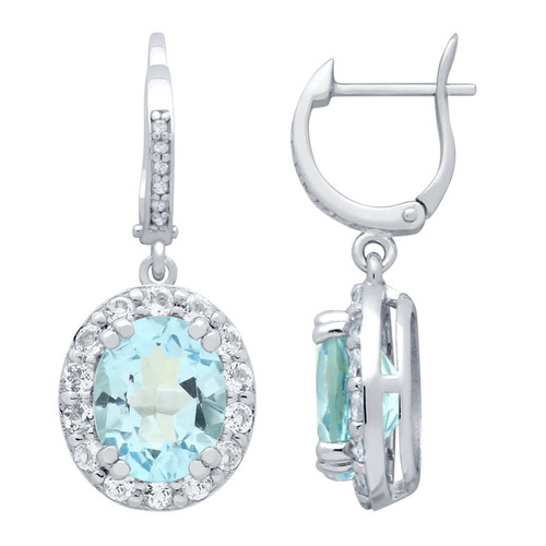 oval-cut genuine sky blue topaz earrings with large white