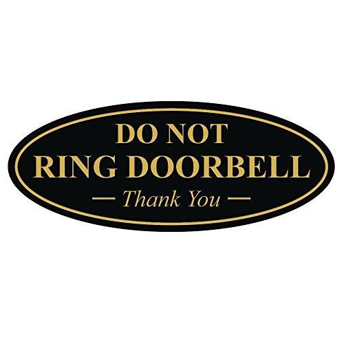 oval no timbre de la puerta gracias firmar - negro oro pequ