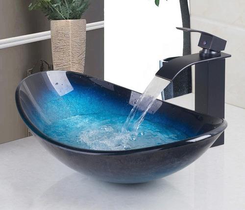 ovalin lavabo de cristal templado artesanal azul negro