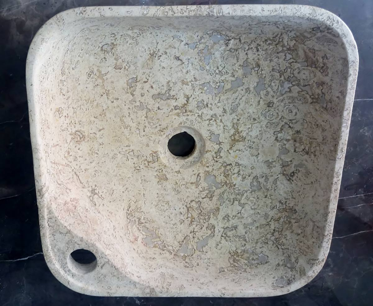Ovalin lavabo de m rmol cuadrado sobreponer pulido for Marmol travertino fiorito caracteristicas