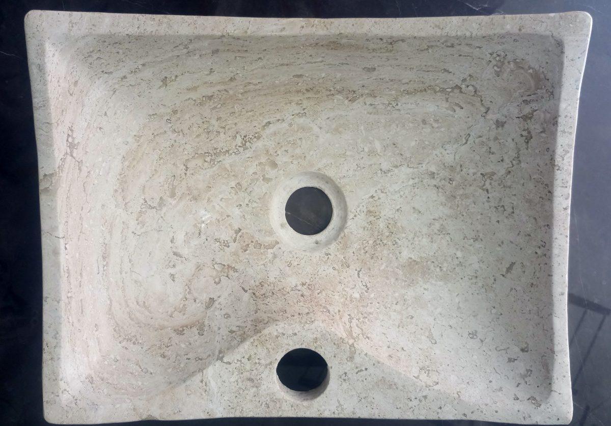 Ovalin lavabo de m rmol sobreponer pulido mate 1 200 for Marmol travertino fiorito caracteristicas