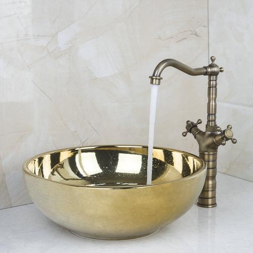 Ovalin lavamanos dorado con llave tipo antigua arte for Precio llave lavamanos
