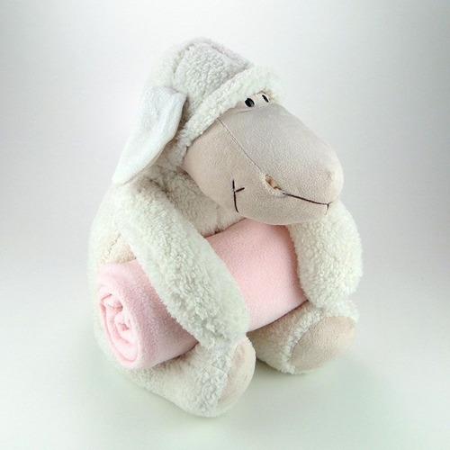 ovelha de pelúcia com mantinha rosa grande