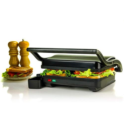 ovente gp0620b 2 eléctrico panini prensa parrilla y gastró