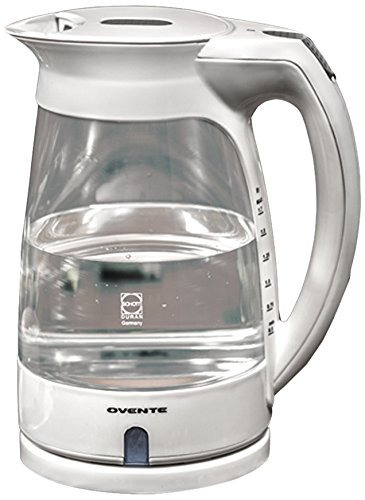 ovente kg82w glass electric kettle, 17liter, white