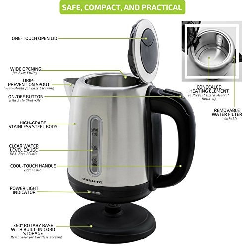 ovente stainless steel electric tea kettle cordless with con