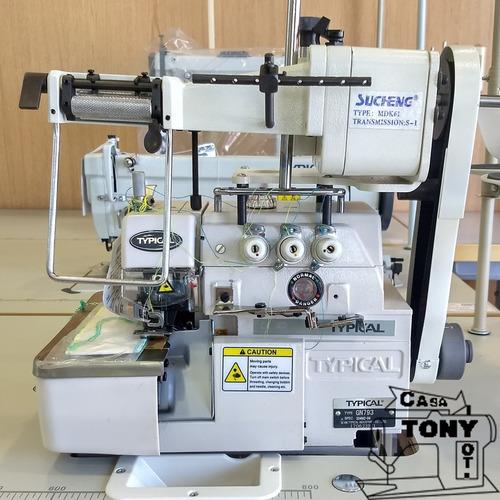 overlock 3 hilos c/alimentador de elastico typical gn793-lfc
