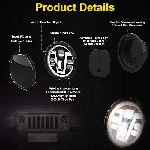 ovotor jeep faros led de 7 pulgadas con anillo halo ambar in