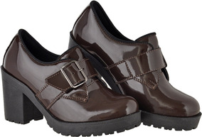 6320fdd67 Sapato Feminino Verniz Oxford - Sapatos Marrom no Mercado Livre Brasil
