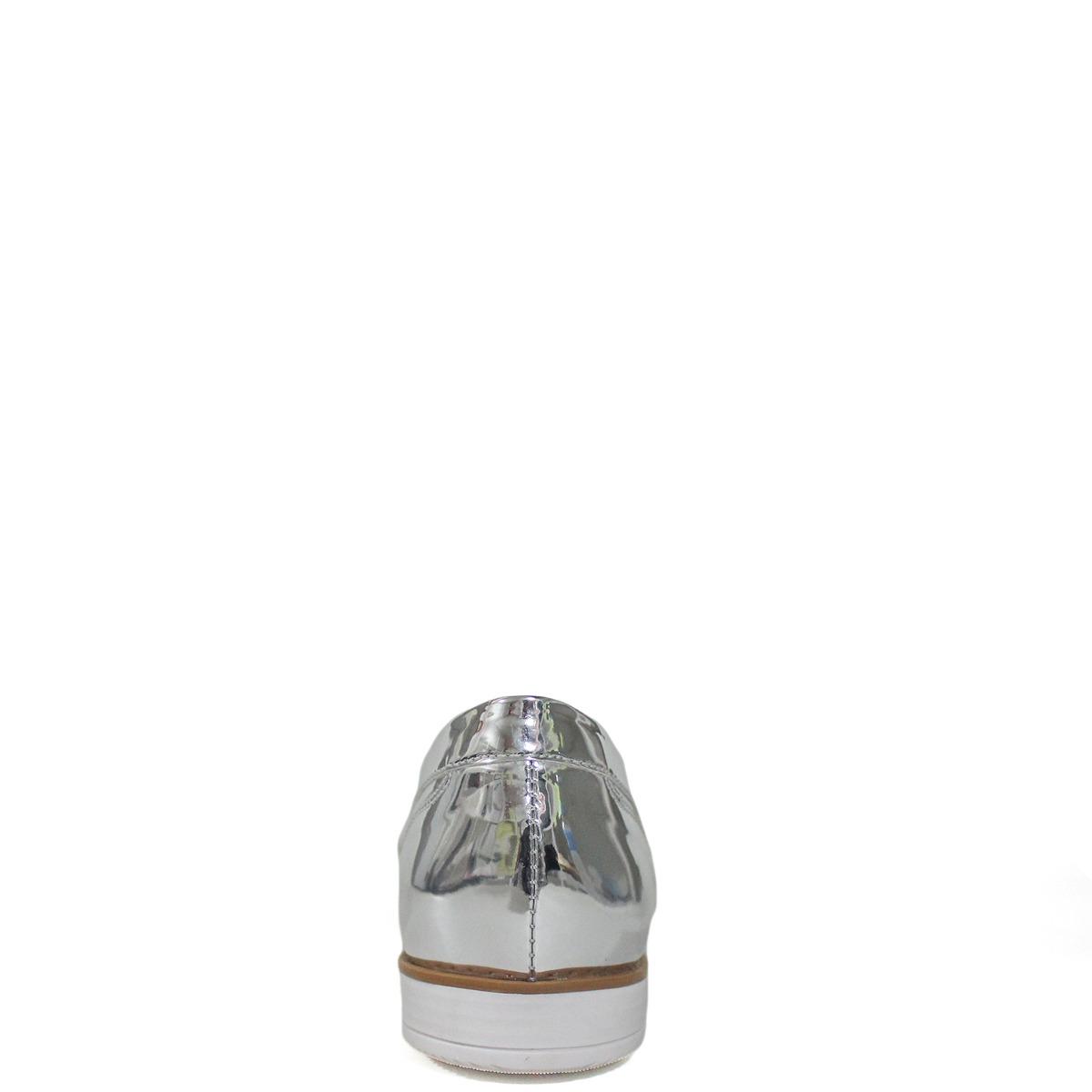80ae5fcb6 Oxford Lisbella Metalizado Prata - Couro Legítimo - R$ 189,90 em ...