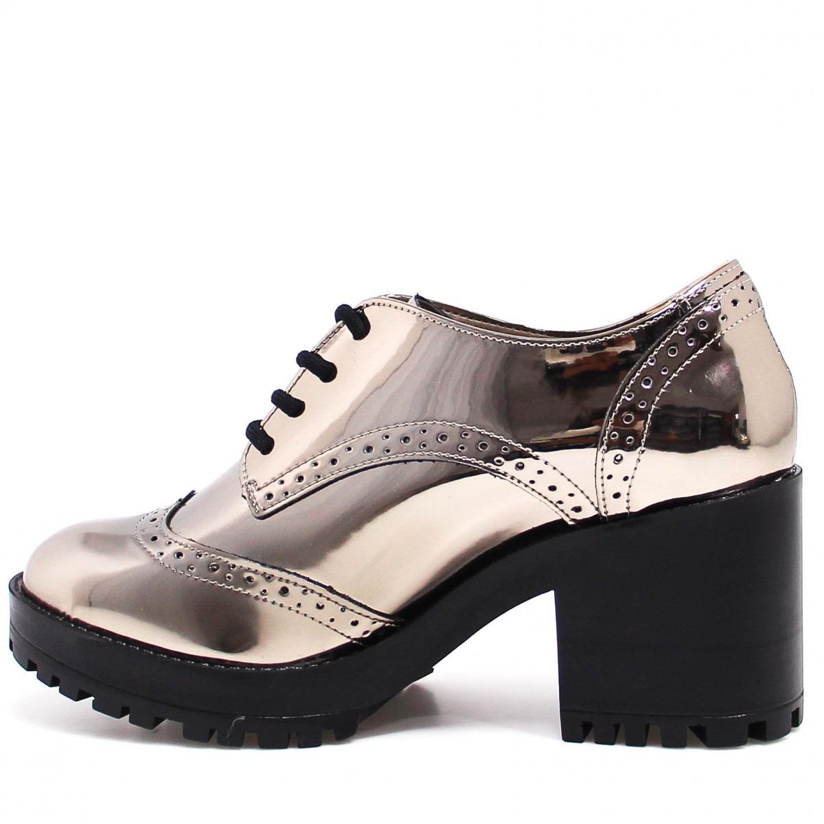 e77080208 Sapato Feminino Oxford Via Marte Verniz Salto Bloco