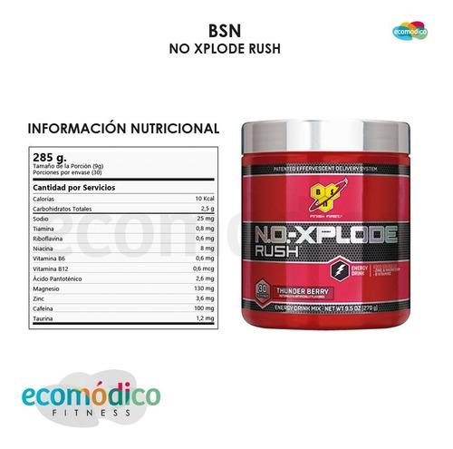 oxido nitrico bsn no xplode rush 285 grs - 30 servicios