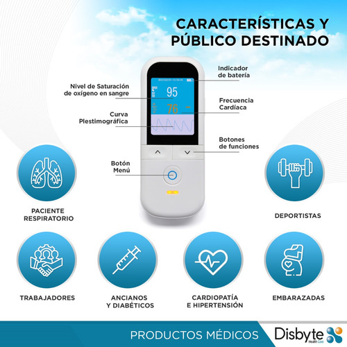 oximetro de mano dedo pulso saturometro digital medico