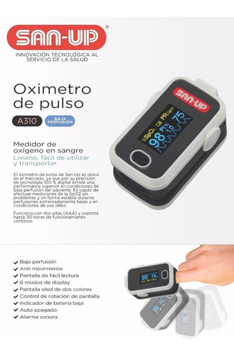 oxímetro de medición de pulso san up a310 adulto y pediatric