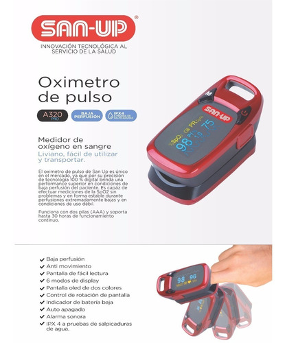 oximetro de pulso a320 san up  adultos y niños mundo manias