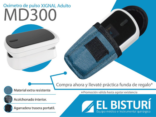 oximetro de pulso md300 + funda protectora gratis