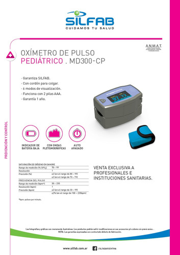 oxímetro silfab pediátrico  md300c5