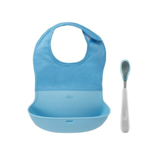 oxo tot roll up bib and silicone spoon set - aqua