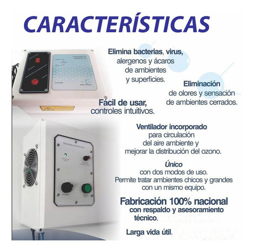 ozonizador generador de ozono desinfectante purifica aire a1