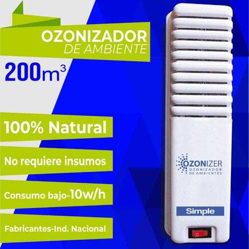 ozonizador ionizador aire purifica desinfecta 200m3 silencio