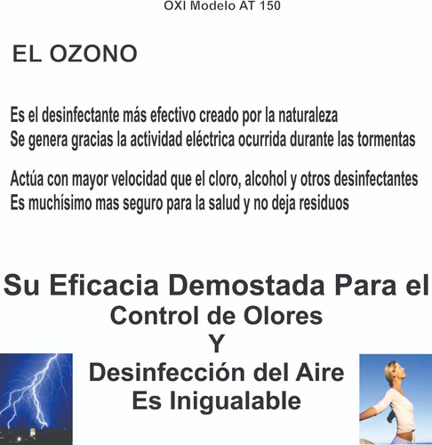 ozono - purificador de aire 150 m3- silencioso y durable