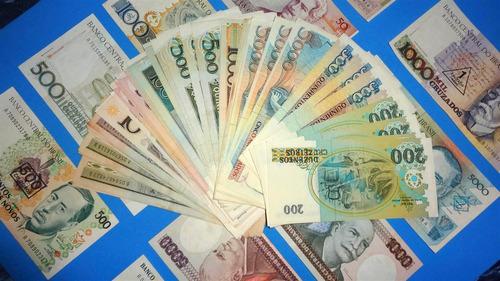 p-001 lote 10 cédulas notas dinheiro antigo - barato