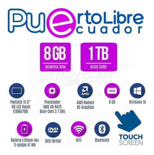 p o t e n t hp a9 = i5 + 8gb + 1tb + pantll touch + t. video