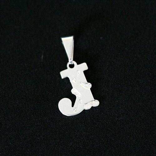 p0204 - pingente folheado a prata letra l