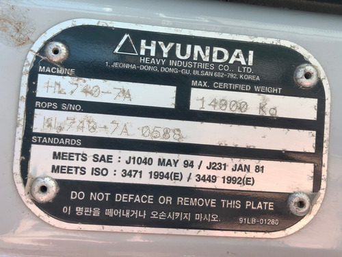 pá carregadeira hyundai  hl 740-7a  2011=john dree,312cl