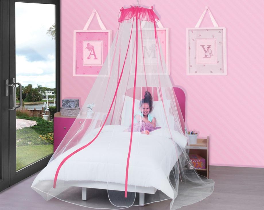 Pabellon decorativo princesa rosa para ni as anti for Pabellon para cama king size