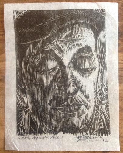 pablo neruda carlos hermosilla xilografía firmado 1972