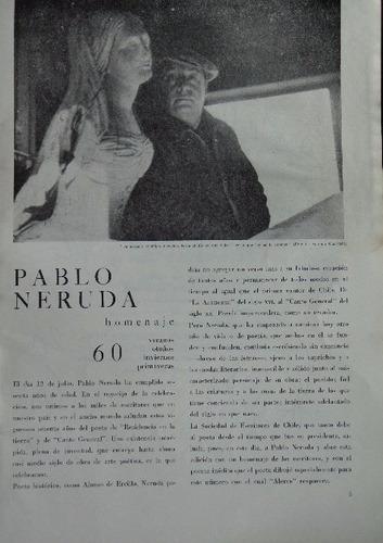 pablo neruda homenaje 60 años revista alerce 1964.