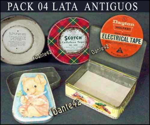 pack 04 cajas lata de coleccion antiguo
