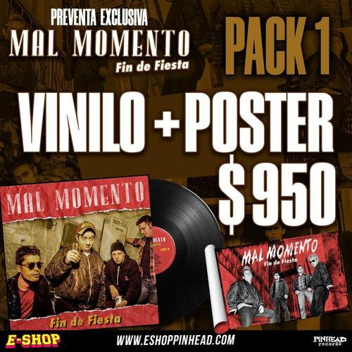 pack 1 vinilo mal momento  fin de fiesta  + poster
