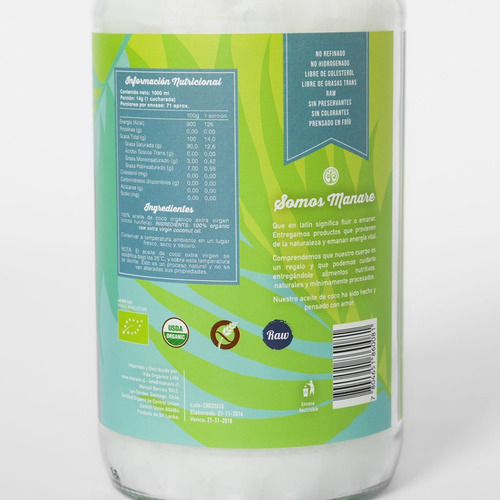 pack 10 aceite de coco manaré de 1 litro despacho gratis