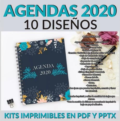 pack 10 agendas 2020 imprimibles editables pdf y powerpoint