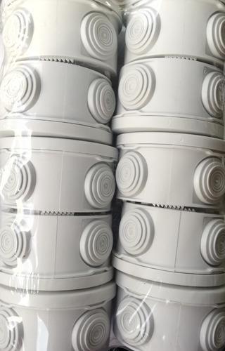pack 10 cajas estanca ip55 circular cctv 4x7cm para conexion
