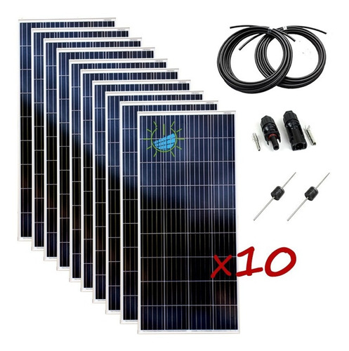 pack 10 fotovoltaico policristalino panel solar 150 w kethor