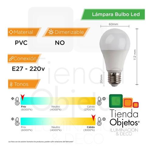 pack 10 lampara led bulbo 9w 10w = 75w e27 cuotas