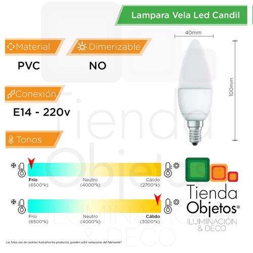 pack 10 lampara led vela candil 5w = 40w 470lm e14 mignon