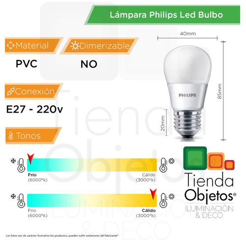 pack 10 lampara philips led bulbo gota 4w = 40w 220v e27