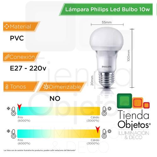 pack 10 lamparas led foco philips casa 10w = 80w e27 220v