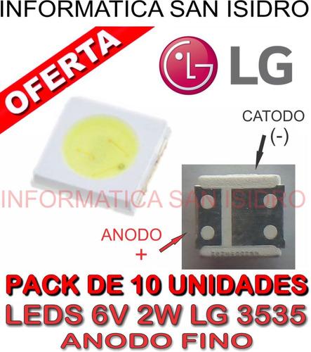 pack 10 led 6v 2w 3535 backlight leds tv lg anodo fino