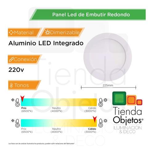 pack 10 panel led 18w embutir redondo luz calida fria blanco