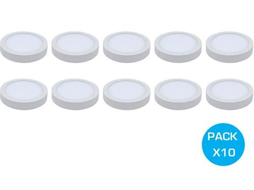 pack 10 panel plafon aplicar led 18w redondo 220v garantia