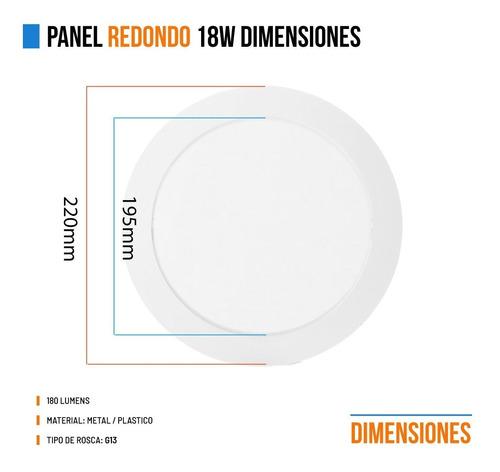 pack 10 panel plafon led 18w redondo embutir blanco gtia