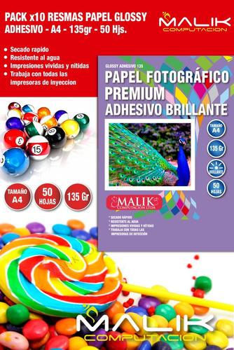 pack 10 papel fotografico adhesivo brilante 135gr 50hojas a4
