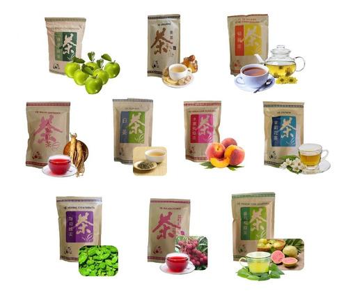 pack 10 té surtido -100 gr hojas a granel - infusión