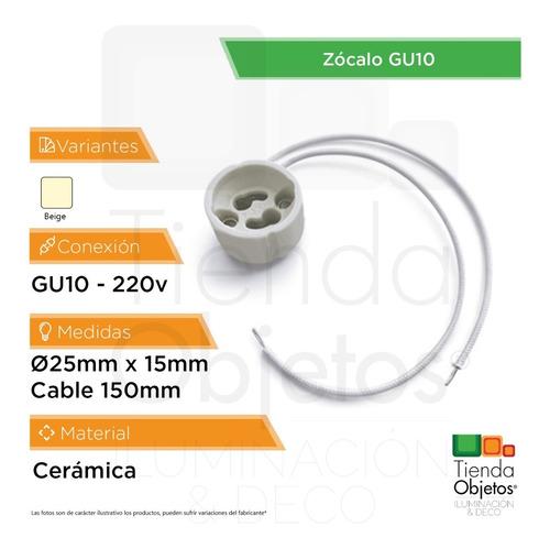 pack 10 zocalo gu10 lampara ceramica dicroica led
